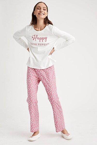 DeFacto Fit Kadın Baskılı Pijama Takımı