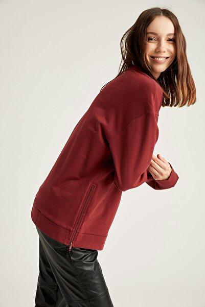 DeFacto Kadın Bordeaux Yarım Düşük Omuz Sweatshirt S8959AZ20AU