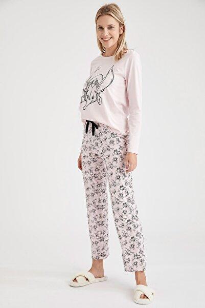 DeFacto Fit Kadın Pembe Dumbo Lisanslı Pijama Takımı