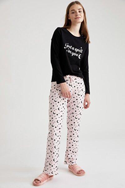 DeFacto Fit Kadın Siyah Baskılı Pijama Takımı