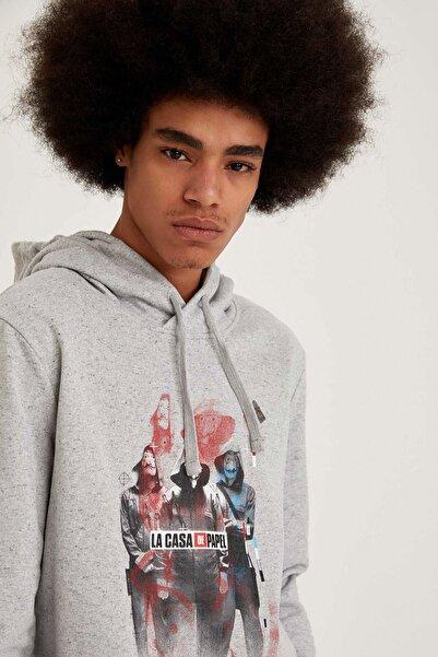 DeFacto La Casa De Papel Lisanslı Slim Fit Kapüşonlu Sweatshirt