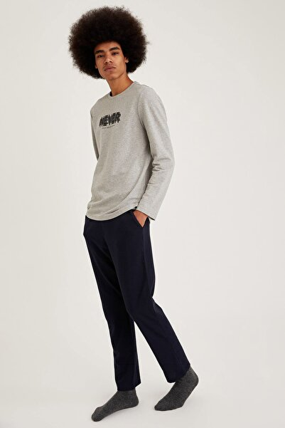 DeFacto Fit Erkek Grey Melange Never Baskılı Regular Fit Pijama Takım S9459AZ20WN