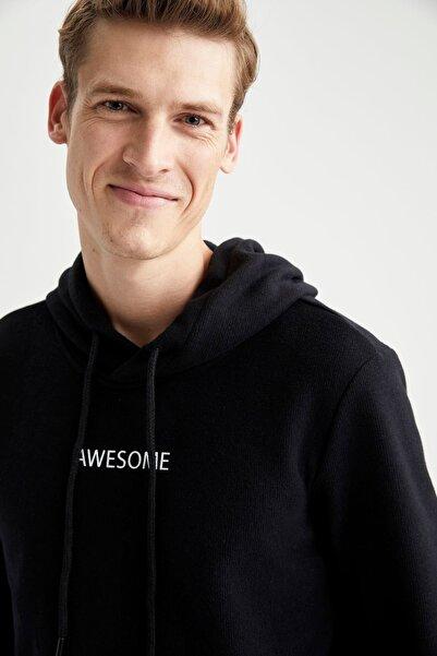 DeFacto Awesome Baskılı Regular Fit Kapüşonlu Sweatshirt