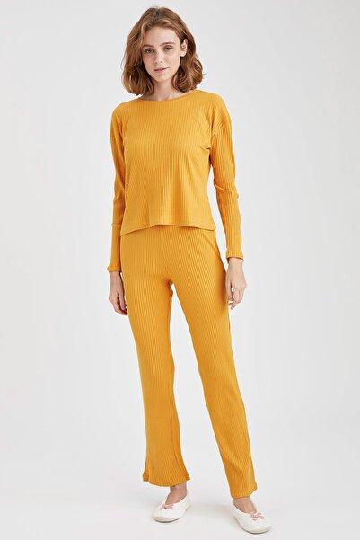DeFacto Fit Kadın Sarı Fitilli Relax Fit Pijama Takımı