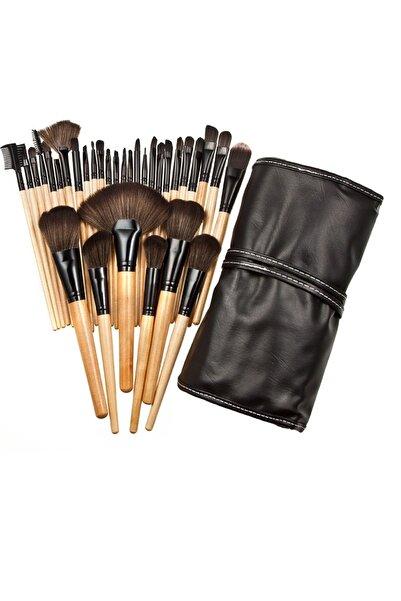 HANNAH 32 Parça Ahşap Saplı Makyaj Fırça Seti Siyah