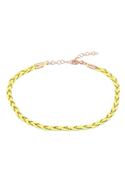 MySilvers Kadın Pembe Sarı Neon İpli Gümüş Örme Halhal
