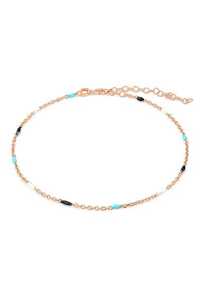 MySilvers Kadın Pembe Renkli Mineli Gümüş Halhal