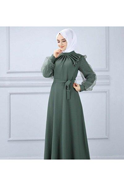 TMR Kadın Yeşil Krep Elbise
