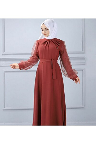 TMR Kadın Kahverengi Krep Elbise