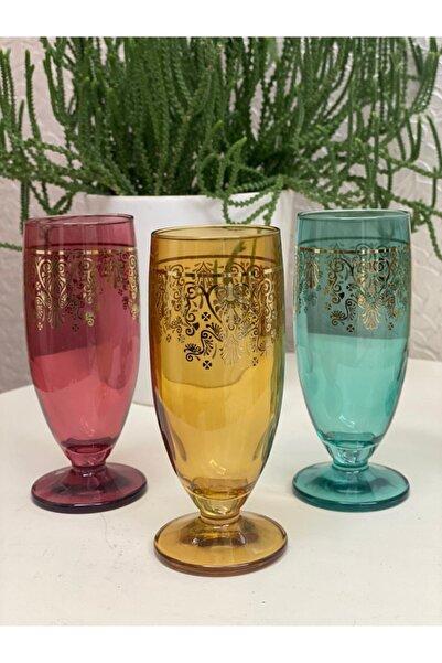 Sigma 6'lı Renkli Lüx Yaldızlı Kahve Yanı Bardağı