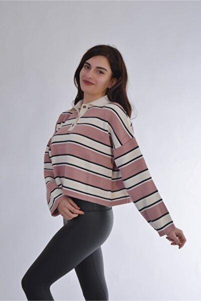 Modo Bella Kadın Gül Kurusu Krem Polo Yaka Crop Triko Kazak