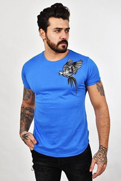 DeepSEA Erkek Mavi Papağan Desenli Tişört 2002017
