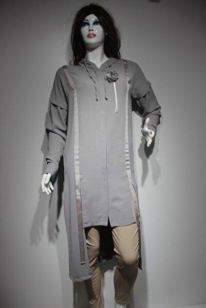 Puane Kadın Gri Kapüşonlu Ceket