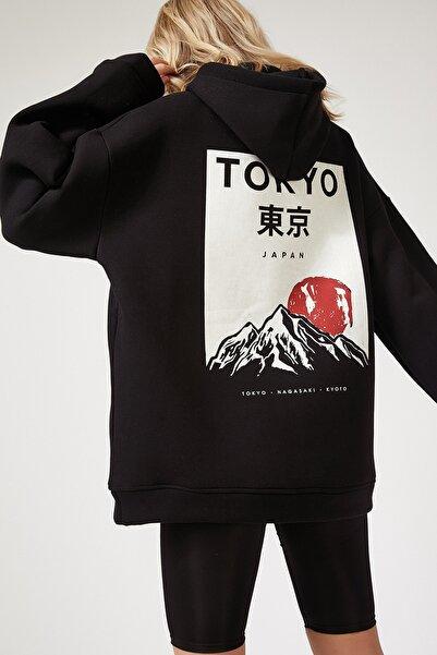 Happiness İst. Kadın Siyah Kapüşonlu Polarlı Kışlık Oversize Sweatshirt OX00046