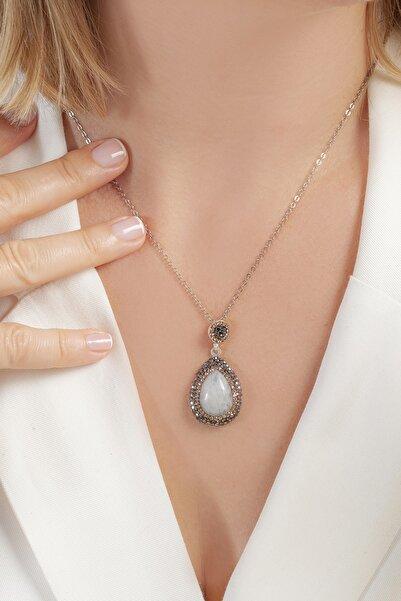 Tmec Silver Ay Taşı Kolye El Işçilikli Gümüş