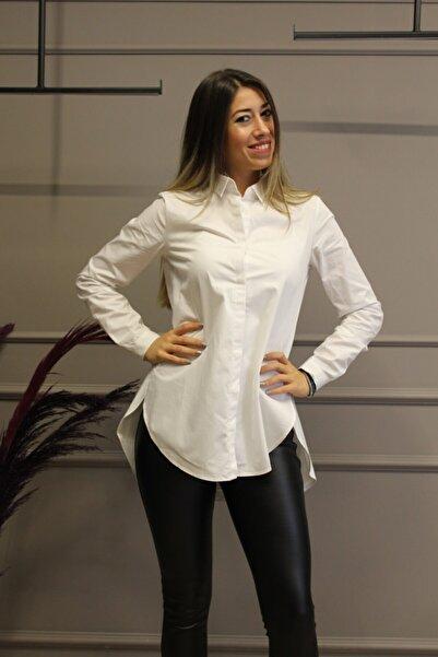 KAROL Kadın Beyaz Yandan Yırtmaçlı  Gömlek