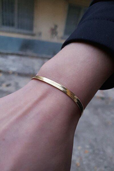Gloria Unisex Altın Yassı İtalyan Çelik Bileklik