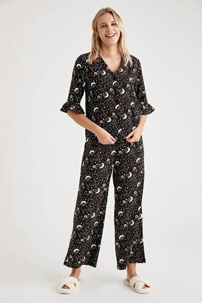 DeFacto Fit  Kadın Black Red Lunar Baskılı Volanlı Gömlek Tasarımlı Pijama Takımı T3735AZ20WN