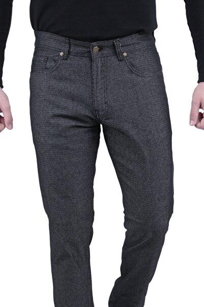 Canelia Erkek Siyah Örme Desenli 5 Cep Dar Kesim Pantolon