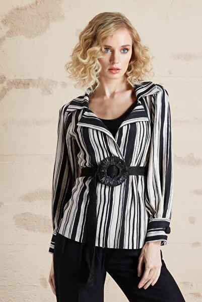 SERPİL Kadın Siyah Bej Kemerli Çizgili Ceket 32416