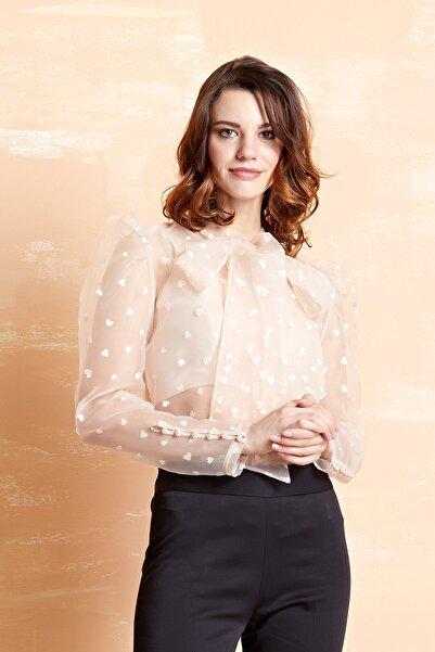 SERPİL Kadın Pudra Kalp Desenli Şifon Gömlek 33023
