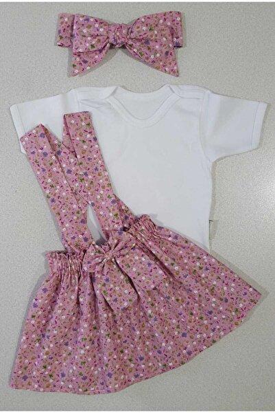Yumurcak Kız Çocuk Pembe Çıtır Çiçek Elbise Bandana Badi Takım