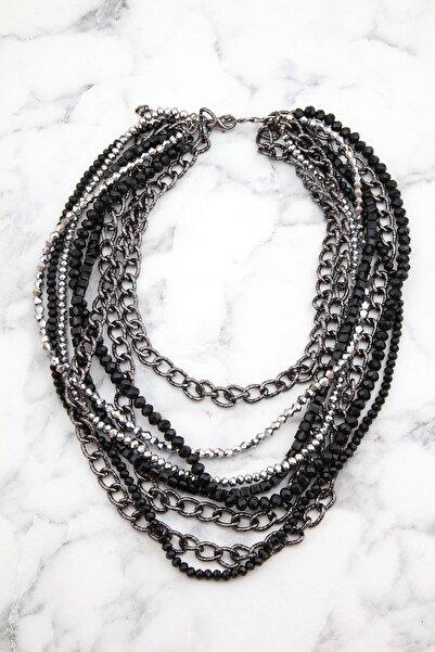 Pelin Aksesuar Kadın Siyah Silver Kristalli 8 Sıralı Kolye