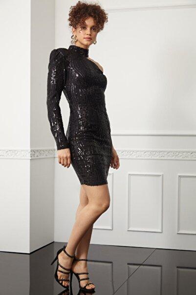 Novas Kadın Siyah Pul Payetli Boğazlı Tek Kollu Mini Elbise