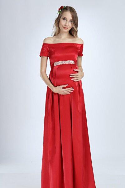 Moda Labio Saten Incili Kırmızı Hamile Elbise