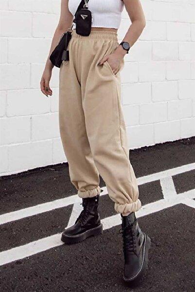 Madmext Kadın Camel Paça Lastikli Oversize  Eşofman MG324