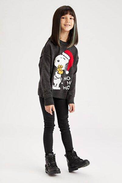 DeFacto Kız Çocuk Snoopy Lisanslı Triko Yılbaşı Kazak