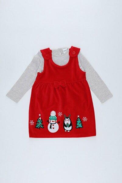 DeFacto Kız Bebek Kırmızı Yılbaşı Temalı Kadife Elbise Ve Tişört Takım