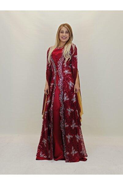 ŞahnurKaftan Kadın Bordo Desenli Kına Elbisesi