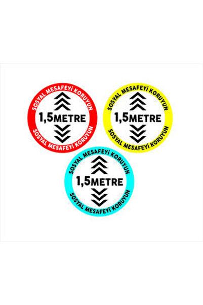 Sosyal Mesafe Zemin Etiket Sticker, Zemin, Folyo Set Daire 3 Lü Set