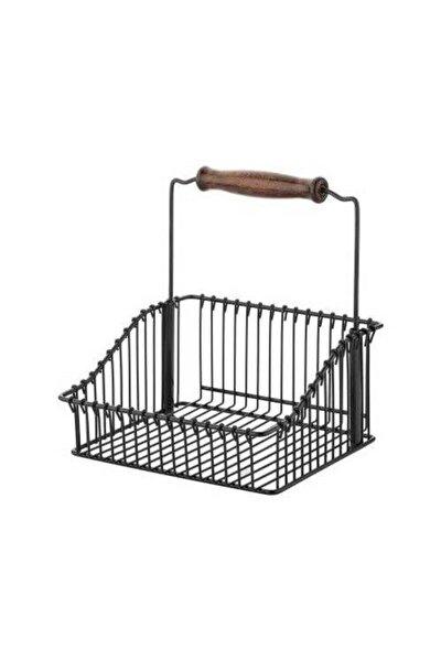 VİP AHMET Ferforje Metal Ahşap Saplı Mutfak Sepeti 20*20 (siyah)