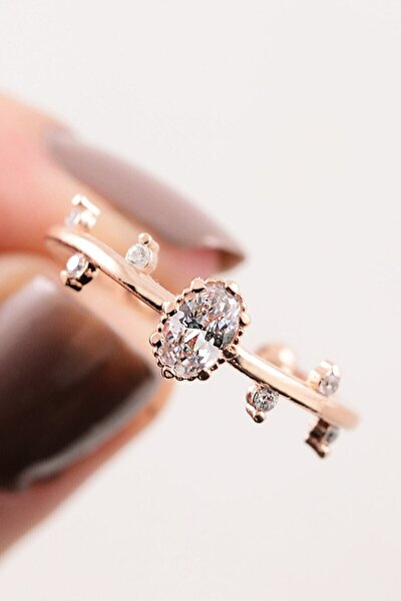LOTUS GÜMÜŞ 14k Rose Gold Iskandinavya Evlilik Yüzüğü Ayarlanabilir Ölçü