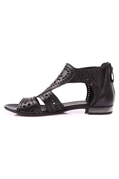 Mammamia Kadın Siyah Hakiki Deri Casual Sandalet 3700