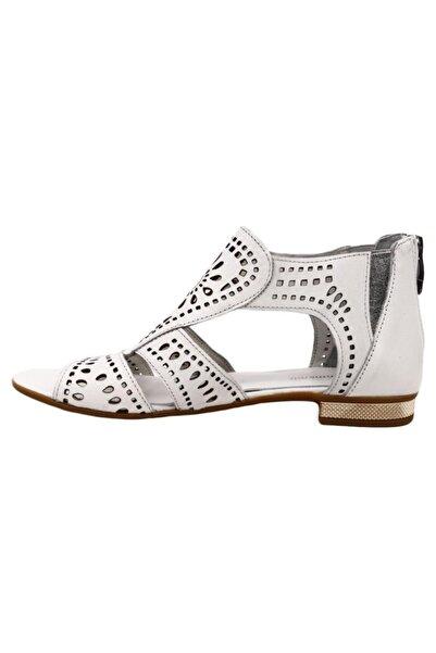 Mammamia Kadın Beyaz Hakiki Deri Casual Sandalet 3700