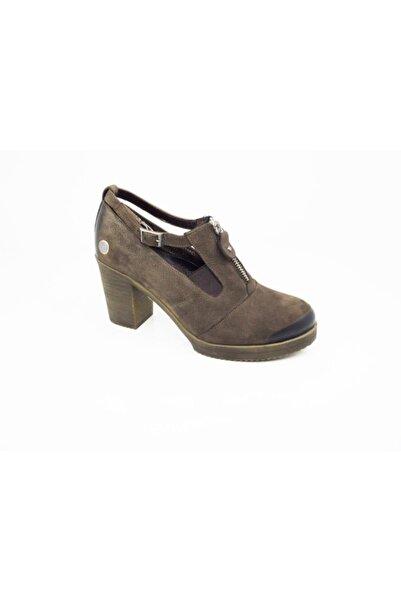 Mammamia Kadın Kahverengi Hakiki Deri Günlük Topuklu Ayakkabı 965