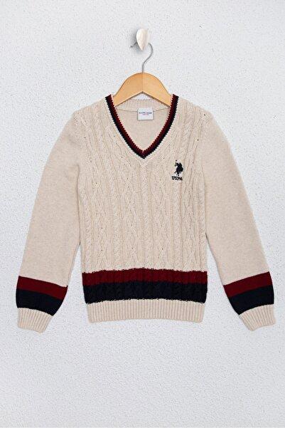 U.S. Polo Assn. Beyaz Erkek Çocuk Triko Kazak