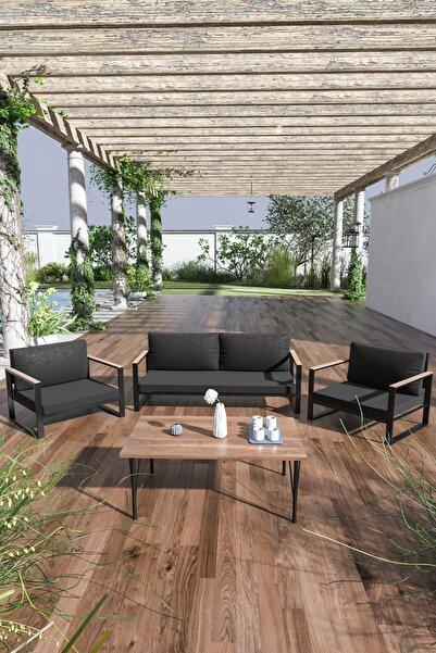 Evdemo Siyah Kobalt Bahçe Balkon Oturma Takımı Sehpalı 2+1+1