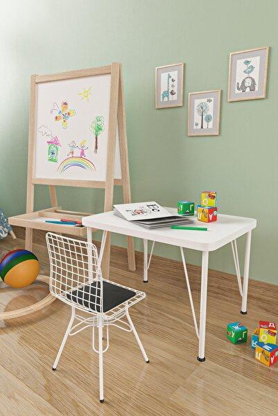 Evdemo Beyaz Çocuk Masa Sandalye Takımı