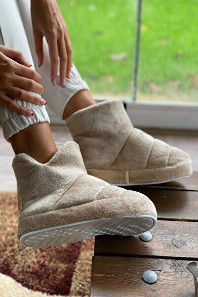 İnan Ayakkabı Kadın Bej Iç ve Dışı Yumuşak Ev Terliği