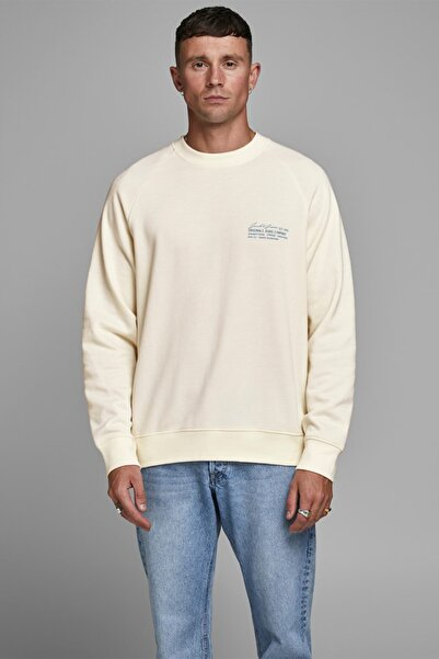 Jack & Jones Erkek Krem Crew Neck Sweatshirt  12180365