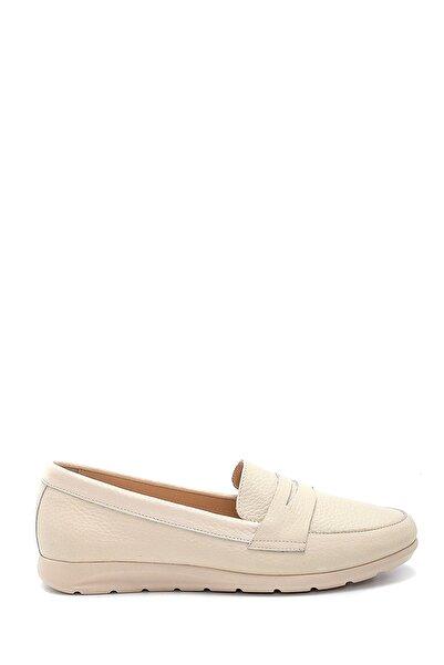 Derimod Kadın Krem Deri Loafer Ayakkabı