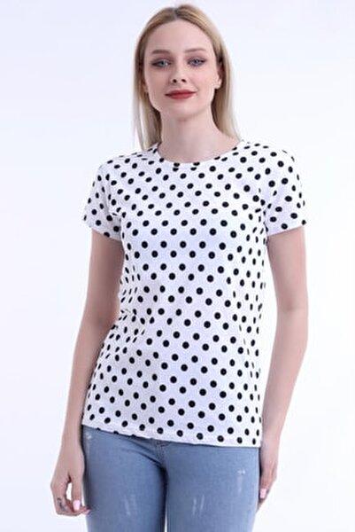 Kadın Beyaz Renk Siyah Puantiyeli Kısa Kol T-shirt
