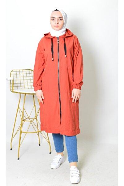 Moda Esinti Kadın Kiremit Kapüşonlu Trençkot