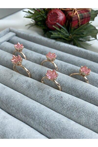 Flora 14k Rose Altın Kaplama Pembe Zirkon Taşlı Lotus Çiçeği Yüzük