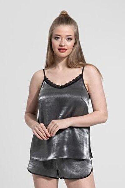 Kadın Gümüş Simli Dantel Detaylı Askılı Pijama Takımı