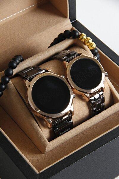 Re-Nox Unisex Siyah Metal Kordon Geometrik Model Sevgili Saatleri